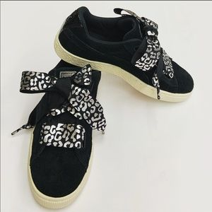 Puma black suede sneakers with ribbon laces